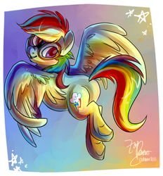 Size: 650x700 | Tagged: artist:zobobafoozle, flying, goggles, hooves, rainbow dash, safe