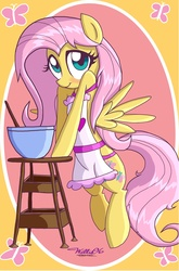 Size: 1320x2004 | Tagged: apron, artist:willisninety-six, bipedal, blushing, clothes, cooking, cute, fluttershy, looking at you, pony, safe, shyabetes, waifu