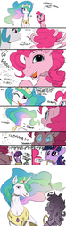 Size: 640x2160   Tagged: safe, artist:elslowmo, artist:sunibee, color edit, edit, pinkie pie, princess celestia, spike, twilight sparkle, alicorn, dragon, earth pony, pony, unicorn, aaaaaaaaaa, bet you can't make a face crazier than this, colored, comic, crown, dialogue, dropping, eye contact, female, funny, g3 faic, hoers, horn, jewelry, laughing, looking at each other, magic, mare, mouth hold, nightmare fuel, open mouth, peytral, pinkie blind, princess celestia is a horse, realistic, regalia, shocked