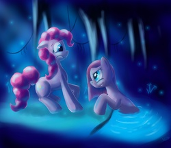 Size: 3000x2587   Tagged: safe, artist:hieronymuswhite, pinkie pie, cave, cave pool, duality, mirror pool, oh crap, pinkamena diane pie, this will not end well