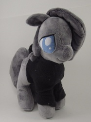 Size: 791x1055 | Tagged: artist needed, safe, artist:brainbread, marble pie, pony, choker, clothes, cute, hoodie, irl, lonely inky, photo, plushie, sad, smiling, solo