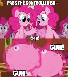 Size: 562x637   Tagged: safe, edit, edited screencap, screencap, pinkie pie, earth pony, pony, too many pinkie pies, spoiler:s03, balloon, balloonie pie, caption, clone, comic, female, fingers, guh!, hand, hoof fingers, image macro, imminent death, inflation, magic, mare, pass the controller, pinkie clone, sitting, wat, wtf