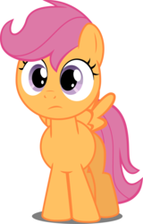 Size: 2458x3831 | Tagged: safe, artist:felix-kot, scootaloo, pegasus, pony, confused, female, simple background, solo, transparent background, vector