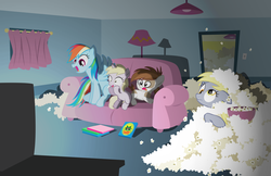 Size: 6215x4037 | Tagged: artist:trotsworth, couch, derpy hooves, dinky hooves, female, mare, messy, movie, movie night, pegasus, pipsqueak, pony, popcorn, rainbow dash, room, safe, television, varying degrees of want