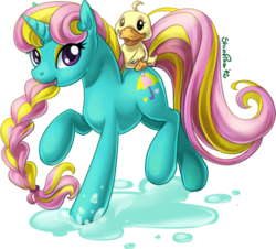 Size: 600x543 | Tagged: artist:shinepawpony, dewdrop dazzle, duck, safe, solo, water