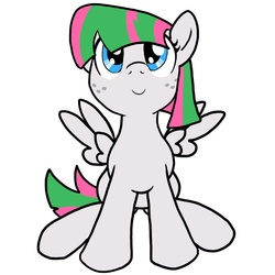 Size: 850x850 | Tagged: artist:shadewingz, blossomforth, cute, filly, filly blossomforth, freckles, looking at you, safe, solo, young, younger