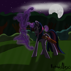 Size: 900x900 | Tagged: dead source, safe, artist:rumblealex, twilight sparkle, archery, arrow, bow (weapon), bow and arrow, magic, moon, night, quiver, weapon