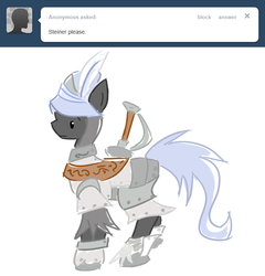 Size: 657x685 | Tagged: safe, artist:ask-the-fantasy-ponies, adelbert steiner, armor, ask, final fantasy, final fantasy ix, ponified, sword, tumblr, weapon