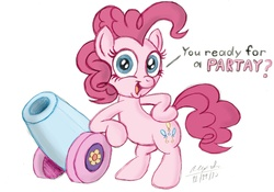 Size: 3725x2607 | Tagged: safe, artist:aleximusprime, artist:scobionicle99, pinkie pie, colored, party cannon