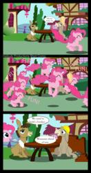 Size: 5277x10000 | Tagged: safe, artist:hatbulbproductions, cranky doodle donkey, matilda, pinkie pie, donkey, earth pony, pony, absurd resolution, comic, crankilda, fun fun fun, ponyville