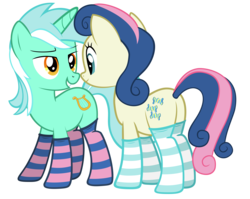 Size: 6000x4777 | Tagged: safe, artist:fluffytuli, bon bon, lyra heartstrings, sweetie drops, absurd resolution, bedroom eyes, best friends, clothes, female, lesbian, lyrabon, plot, shipping, simple background, socks, striped socks, transparent background, vector