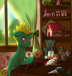 Size: 900x948 | Tagged: artist:starshinebeast, backlighting, craft, glasses, interior, needle, oc, oc only, paint, safe, sewing, table, teddy bear, toy, verdana, window, working