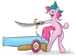 Size: 905x666 | Tagged: safe, artist:bingodingo, pinkie pie, party cannon, pirate