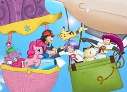 Size: 2338x1700 | Tagged: safe, artist:darksearcher14, pinkie pie, spike, meowth, pikachu, ash ketchum, balloon, batter, belly button, cake batter, crossover, hot air balloon, james, jessie, meowth balloon, midriff, party cannon, pokéball, pokémon, team rocket, twinkling balloon