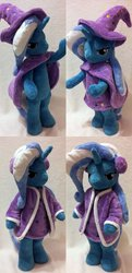 Size: 1024x2114 | Tagged: safe, artist:agatrix, trixie, pony, anthro plushie, bipedal, cape, clothes, hat, irl, photo, plushie, solo, trixie's cape, trixie's hat, winter