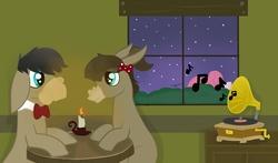 Size: 4945x2913 | Tagged: safe, artist:balloons504, cranky doodle donkey, matilda, pinkie pie, donkey, earth pony, pony, crankilda, female, male, phonograph, shipping, straight