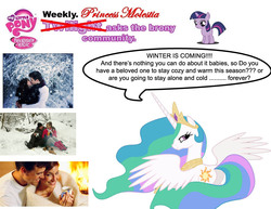 Size: 969x747 | Tagged: safe, princess celestia, princess molestia, forever alone, twilight asks, winter