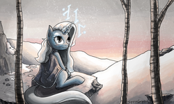 Size: 1496x897 | Tagged: safe, artist:spyroconspirator, oc, oc only, oc:arcadia, pony, unicorn, fallout equestria, clothes, fanfic, pipbuck, snow, snowfall, solo, trigger to tomorrow, winter