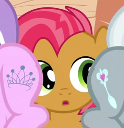 Size: 659x679 | Tagged: safe, screencap, babs seed, diamond tiara, silver spoon, one bad apple, eyes on the prize, out of context, plot, raised tail, tail