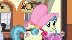 Size: 1920x1080 | Tagged: safe, screencap, all aboard, apple bloom, jolene, earth pony, pony, one bad apple, background pony, bonnet, female, filly, hub logo, male, mare, offscreen character, solo focus, stallion