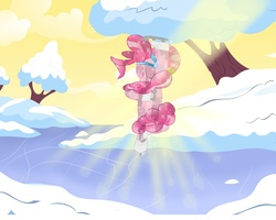 Size: 3750x3000 | Tagged: safe, artist:mrmrman363, pinkie pie, crystallized, ice, skating, winter