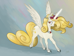 Size: 1280x960 | Tagged: safe, artist:spectralunicorn, oc, oc only, oc:yellowstar, alicorn, pony, fanfic:the star in yellow, alicorn oc, meme, race swap, solo, wingding eyes