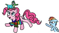 Size: 900x509 | Tagged: artist:closer-to-the-sun, gummy, kwanzaa, ms paint, pinkie pie, rainbow dash, safe