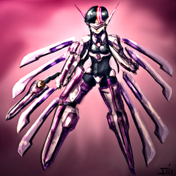 Size: 960x960 | Tagged: artist:johnjoseco, artist:trelwin, blazblue, crossover, humanized, lambda-11, parody, safe, twilight sparkle