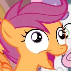 Size: 578x578 | Tagged: derp, one bad apple, safe, scootaloo, screencap