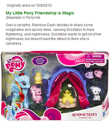 Size: 384x424 | Tagged: animal, brushable, camping, dog, fire, food, lantern, marshmallow, mug, puppy, rainbow dash, safe, scootaloo, skunk, sleepless in ponyville, synopsis, tent, text, toy