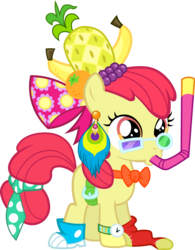 Size: 3121x3996 | Tagged: safe, artist:bobthelurker, apple bloom, earth pony, pony, one bad apple, accessories, adorabloom, banana, clothes, costume, cute, female, filly, food, grapes, necktie, orange, pineapple, simple background, snorkel, transparent background, vector, watch, wristwatch