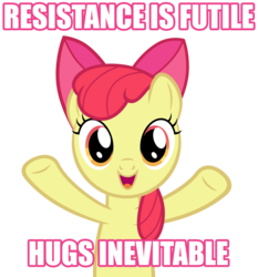 Size: 4900x5265 | Tagged: safe, artist:austiniousi, apple bloom, .psd available, absurd resolution, bronybait, hug, image macro, resistance is futile, simple background, transparent background, vector