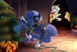 Size: 1499x999 | Tagged: safe, artist:aurarrius, princess celestia, princess luna, alicorn, pony, unicorn, christmas, christmas lights, christmas tree, cute, entangled, ethereal mane, featured image, female, gritted teeth, laughing, male, mare, open mouth, present, rearing, royal guard, smiling, stallion, starry mane, stuck, tangled up, tree, wide eyes