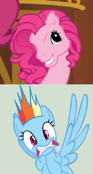Size: 424x792   Tagged: safe, edit, edited screencap, screencap, pinkie pie, rainbow dash, earth pony, pegasus, pony, g3, too many pinkie pies, clone, cropped, evil, female, g4 to g3, generation leap, gritted teeth, mare, meta, pinkie blind, pinkie clone, scared