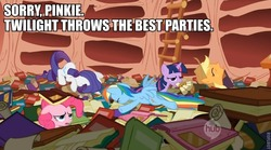 Size: 764x425 | Tagged: safe, edit, edited screencap, screencap, applejack, pinkie pie, rainbow dash, rarity, twilight sparkle, season 1, sonic rainboom (episode), a mouth full of scrolls, book, caption, drunk, golden oaks library, hub logo, image macro, library, out of context, party, party hard, stoned, stoner