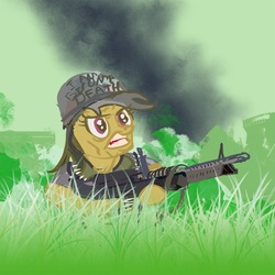 Size: 900x900 | Tagged: safe, artist:chiapetofdoom, daring do, bhagavad gita, full metal jacket, m60, machine gun, military, soldier, vietnam, war