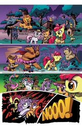 Size: 800x1236 | Tagged: safe, artist:andypriceart, artist:angieness, apple bloom, scootaloo, sweetie belle, idw, official, the return of queen chrysalis, big no, comic, cutie mark crusaders, disguise, disguised changeling, issue 1, no speech bubbles, official comic