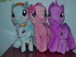 Size: 960x720 | Tagged: funrise, irl, photo, pinkie pie, plushie, rainbow dash, safe, twilight sparkle