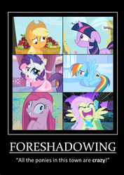 Size: 424x600 | Tagged: safe, edit, edited screencap, screencap, applejack, fluttershy, pinkie pie, rainbow dash, rarity, twilight sparkle, earth pony, pegasus, pony, unicorn, applebuck season, party of one, sonic rainboom (episode), suited for success, swarm of the century, the best night ever, apple basket, appletired, artifact, cropped, derp, female, floppy ears, flutterrage, foreshadowing, mare, marshmelodrama, messy mane, motivational poster, pinkamena diane pie, quote, rarity being rarity, tiredjack, twilight snapple, unicorn twilight