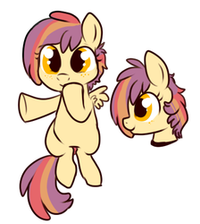 Size: 373x417 | Tagged: safe, artist:lulubell, magical lesbian spawn, next generation, offspring, parent:apple bloom, parent:scootaloo, parents:scootabloom, simple background, white background