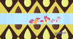 Size: 1280x690 | Tagged: safe, artist:capnpea, edit, edited screencap, screencap, apple bloom, babs seed, scootaloo, sweetie belle, one bad apple, cutie mark crusaders, fimbriae, pun, tail, wat