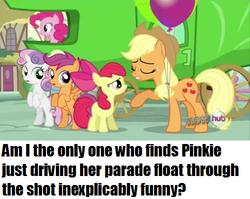 Size: 500x398 | Tagged: safe, apple bloom, applejack, pinkie pie, scootaloo, sweetie belle, one bad apple, cutie mark crusaders, float, lettuce