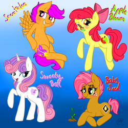 Size: 600x600 | Tagged: safe, artist:mc10215, apple bloom, babs seed, scootaloo, sweetie belle, blushing, cutie mark crusaders, older