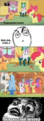 Size: 500x1368 | Tagged: safe, apple bloom, scootaloo, sweetie belle, continuity, cutie mark crusaders, rage face