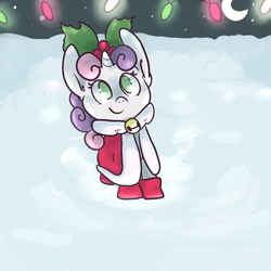 Size: 1000x1000 | Tagged: safe, artist:ponygoggles, sweetie belle, christmas, snow, snowfall, solo, winter
