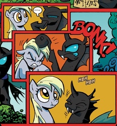 Size: 519x559   Tagged: safe, artist:andypriceart, idw, derpy hooves, changeling, pegasus, pony, spoiler:comic, ..., comic, female, mare, official, official comic, scrunchy face, the return of queen chrysalis, underp