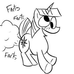 Size: 700x700 | Tagged: safe, artist:4chanponeh, twilight sparkle, pony, unicorn, fart, monochrome, raised tail, solo, tail, twilight fartle