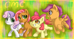Size: 1500x800 | Tagged: safe, artist:bunina, apple bloom, babs seed, scootaloo, sweetie belle, cutie mark crusaders