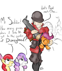 Size: 700x800 | Tagged: safe, artist:keentao, apple bloom, scootaloo, sweetie belle, human, crossover, cutie mark crusaders, soldier, team fortress 2