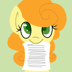 Size: 500x500 | Tagged: safe, artist:robynne, carrot top, golden harvest, ask, cute, paper